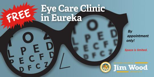 Free Eye Care Clinic in Eureka Graphic
