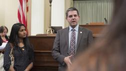 Assemblymember Wood Speaks with Dental Students on the Assembly Floor - Close Up