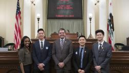 Assemblymember Wood with Loma Linda Dental Students on Assembly Floor - Close Up