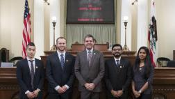 Assemblymember Wood with USC Dental Students on Assembly Floor - Close Up